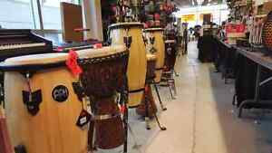Congas, djembes and drums. ITALMELODIE LIQUIDATION.