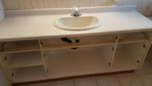 Bathroom Vanity, no counter, sink included and 2 side cabinets