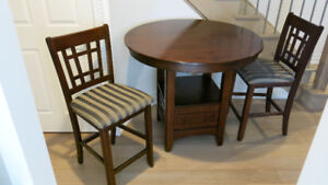 Dining set -  counter height solid wood table with 4 chairs