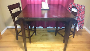 Bar style kitchen table and two chairs