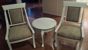 Reupholstered and refinished chairs and side table Edmonton Edmonton Area image 1