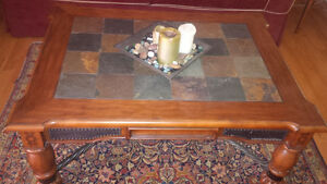 Solid wood & slate tile coffee table & side table