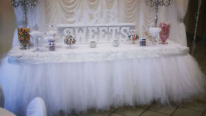 Tulle or Tutu skirt and baby shower chair