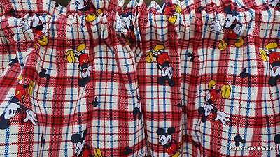Handcrafted Curtain Valance Custom Sewn From Mickey Mouse Red Cream Plaid Fabric ()