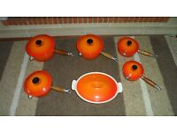 Vintage Le Creuset Saucepans x 5 and Casserole Dish and Lid - Perfect condition