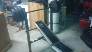 Bench, barbell and 100 lbs