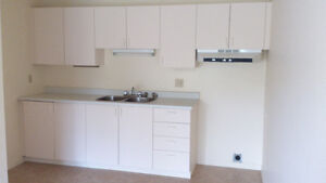 Cupboards, counter, sink, taps