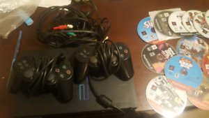 PS2 + 2 Controllers + 8 Hit games