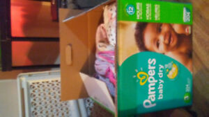 Large box of 3-6 month and 6 month babygirl clothes.
