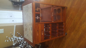 Portable Wine Cart with Marble Top
