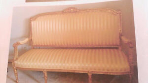 Antique French Louis XVI style carved settee antique furniture