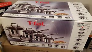 NEW 10PC T FAL STAINLESS STEAL POTS AND PANS