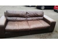 Brown leather 3/4 seat sofa