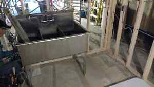 42 Inch Triple Sink Stainless Steel with Faucet