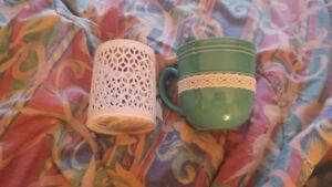 Candle holder, decorative mug & pencil or candle holder.
