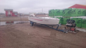 **SOLD**15.5' aluminum boat with 20hp Johnson tiller and trailer