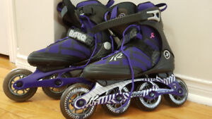 Women's K2 RAVE rollerblades US6 + wrist and knees guards