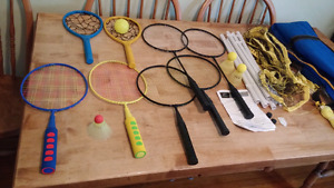 Badminton set with net and birdys and ball and net