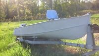 14 ft aluminum boat, motor, and trailer