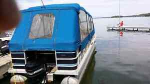 Pontoon boat and trailer for sale