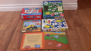 learning puzzles, leap frog dominoes, magnet books