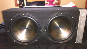 "Two 12"" subs in a bassworks box's and matching amp"