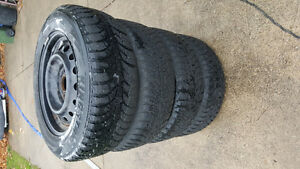 ALMOST NEW WINTER TIRES WITH RIMS SET OF 4!! 215/60R16 London Ontario image 2