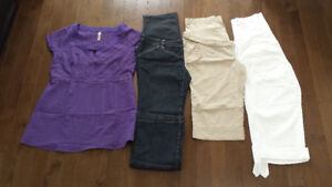 Maternity capris, pants, blouse like new