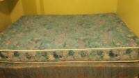 Barely used Double mattress box spring frame pillows sheets