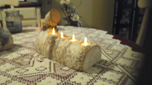 Very beautiful birch log candle holder, very unusual