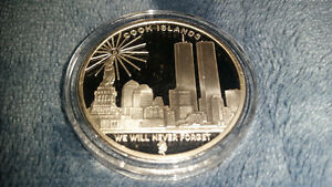 RARE 2005 cook islands silver coin to remember the twin towers.