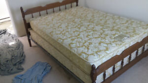 Double Mattress, Box Spring, and Wood Frame