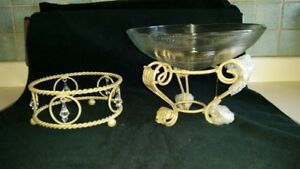 Wrought Iron Bases (2) with glass bowl centrepiece