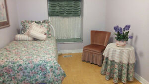 Bedroom furniture... twin headboard, chair, table, bedding