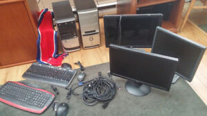 2 Older Systems. 5 Hard Drives, 3 Monitors, 2 Keyboards+Mice