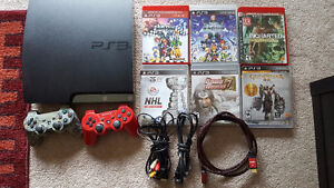 PS3 with 11 games, 2 controllers, HDMI cable, power cable