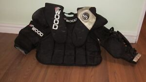 ADULT GOALIE CHEST PROTECTOR, PANTS AND ATHLETIC SUPPORTER