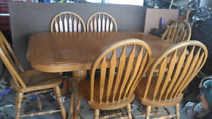 Solid oak table and chairs and mantel