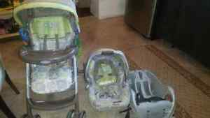 Graco car seat and matching stroller.