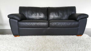 Ikea Natuzzi Leather Couch with Hide-a-Bed