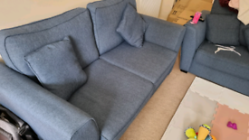 Blue 3 Seater sofa & 2 Chairs