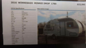 2016 Winnebago 18' travel trailer- Minnie Drop 1780
