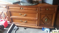 VINTAGE WOOD DRESSER WITH MATCHING NIGHTSTANDS