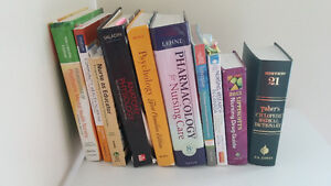 Assorted nursing and psychology textbooks