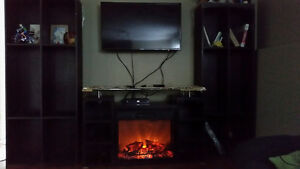 Sylvania Electric Fireplace Heater w/ remote and 2 big shelves