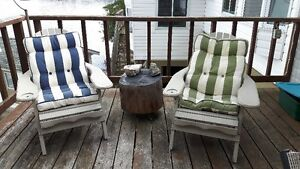 Muskoka Chairs and wood side Table