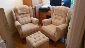 2 Cotswold Chair Company Chairs and Footstool (like new)