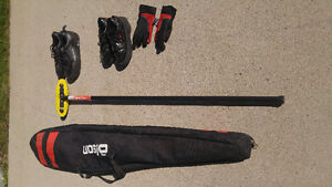 Olson curling bag, shoes, broom and gloves