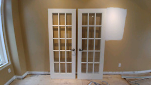 French doors - interior - clear glass 30 x 80