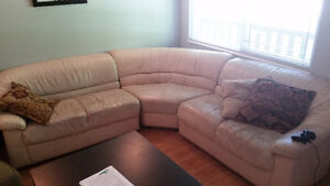 Used Sectional White Leather Couch